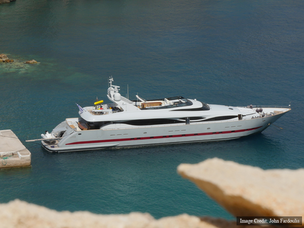 GLAROS, the yacht provided by the Aikaterini Laskaridis foundation as a research vessel for the  expedition.