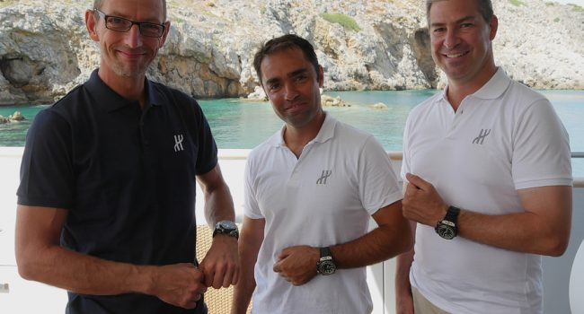 Lead divers Phil Short and Alexander Sotirioiu were presented with Hublot King Power diving watches by Mathias Buttet.