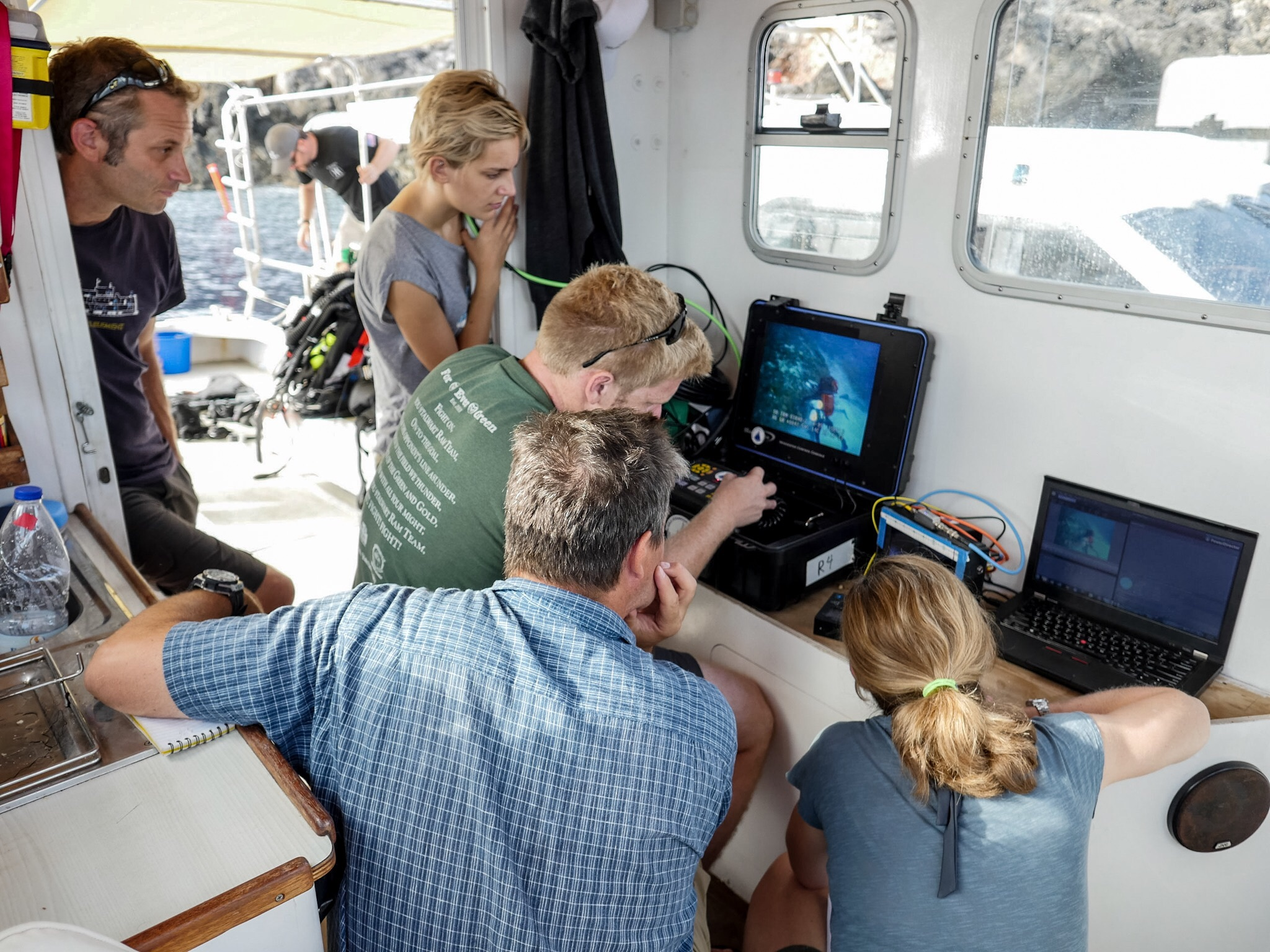 The ROV provides a live view of operations.
